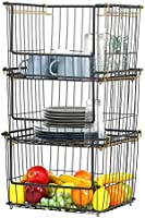 Stacking Metal Storage Bins XL 31.9''X16.6'' Large Toy Organizer Metal Baskets Fruit and Pantry Organization- 3 Pack