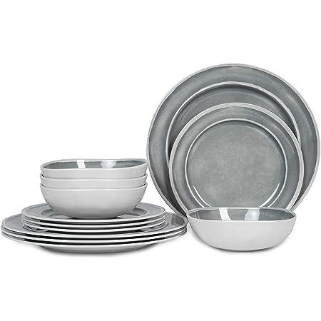 Flamefield Non Slip 12 piece Dinner Set Cool Grey Melamine Plastic