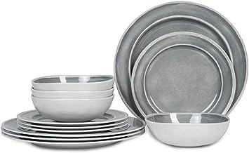 Melamine Dinnerware Set - 12pcs Dishes Dinnerware Set for 4, Indoor and Outdoor use, Dishwasher Safe, Break-resistant, Lig...