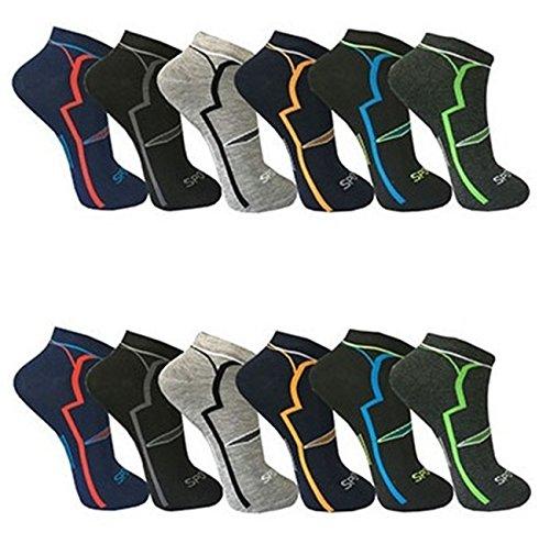 12 Paar Herren Sport Freizeit Sneaker Socken Füßlinge Baumwolle (Muster 1, 39-42)