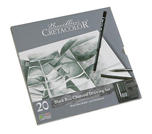 CRETACOLOR 400 30-Black Box Kit charbon 20 pièces