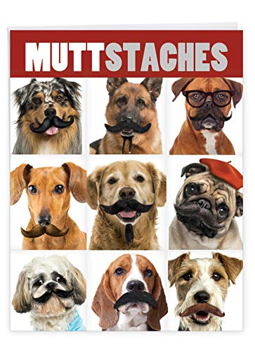 Extra Large Happy Birthday Note Card With Envelope 8.5 x 11 Inch - 'Muttstaches' Happy Appreciation Funny Card - Puppies and Dogs With Mustache - Birthdays Greeting Card J9716