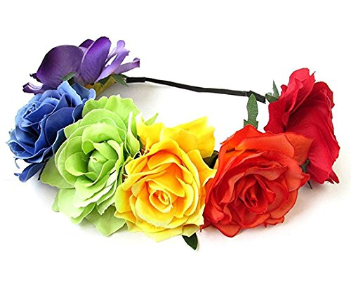 Merroyal Women's Hawaiian Stretch Flower Headband for Garland Party (Rainbow)