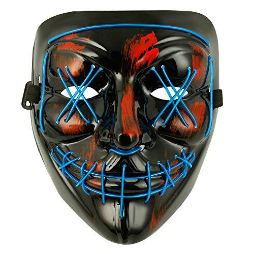 LD LED Halloween masker glossy verlicht horror paars clownmasker maskers zombie decoratie blauw
