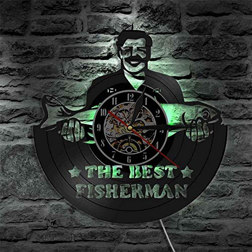 Vinyl Wall Clock The Best Fisherman Silhouette 3D Shadow Wall Clock Go Fishing Fish Vinyl Disc Wall Clock Watches Handmade Gift for Fishermen