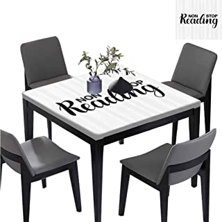 williamsdecor Non Stop Reading Theme Square Table Cover, Elastic on The Corner Machine Washable, Everyday Kitchen Tablecloth for Dinner Parties, 59W x 59L Inches(Elastic Edge)