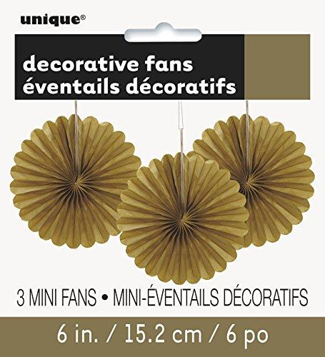 Unique Party- Paquete de 3 decoraciones abanicos pequeños de papel de seda, Color oro, 15 cm (63263)