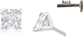 DARSHRAJ JEWELLERS 925 Sterling Silver Single American Cubic Diamond Stud Earrings For Boys Girls Kids & Women -3mm (Pair ...