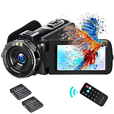 "Video Camera Camcorder ifmeyasi 2020 Upgraded FHD 1080P 30MP Vlogging Camera For YouTube 18X Digital Zoom 3.0"" LCD 270 Degree Flip Screen With 2 Batteries from ifmeyasi"