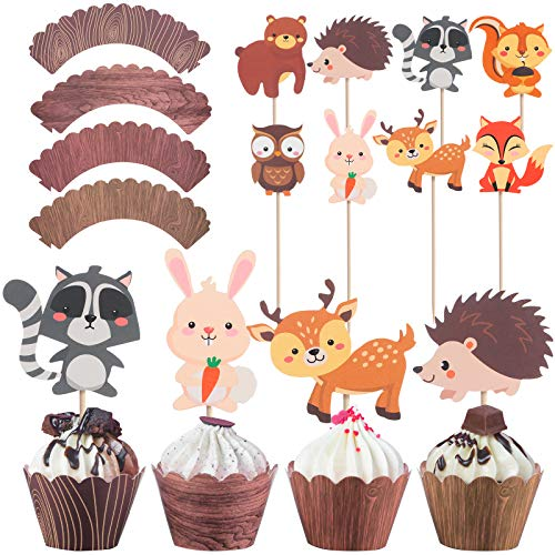 48 Pieces Woodland Cupcake Decoration Set, 40 Pieces Wood Grain Cupcake Wrappers Holders and 8 Pieces Woodland Creatures Cupcake Toppers Forest Animals Cake Picks for Baby Shower Birthday Party Supply