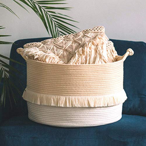 RainMeadow Extra Large Cotton Rope Basket Toy Storage Bin 20 x 20 x 13 Off-White Ivory Beige Cream Large Woven Baskets for Storage Baby Nursery Laundry Basket with Handle Books Blankets