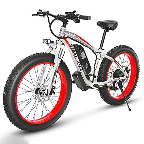 """26"""" Fat Bike Elettrica, Bici Elettrica 1000W con Batteria Al Litio 13Ah, cambio Shimano a 21 velocità, 85Nm, Per Strade Innevate, Spiagge E Strade Di Montagna [EU Warehouse] (red)"""