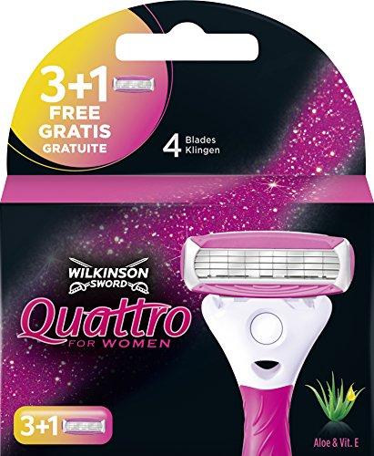 Wilkinson Sword Quattro - Recâmbios para Maquina de Afeitar para Mujer, 3 + 1 Hojas Rosa, 4 Unidades
