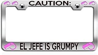 Makoroni - Caution EL JEFE is Grumpy Coach Chrome Steel Metal Heavy Duty Decorative License Plate Frame, License Tag Holder