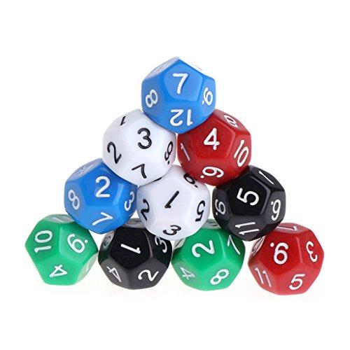 Exing Dados Poliedricos,10 Piezas De Juego Dungeons & Dragons, 12 Caras, Números Acrílicos Dados