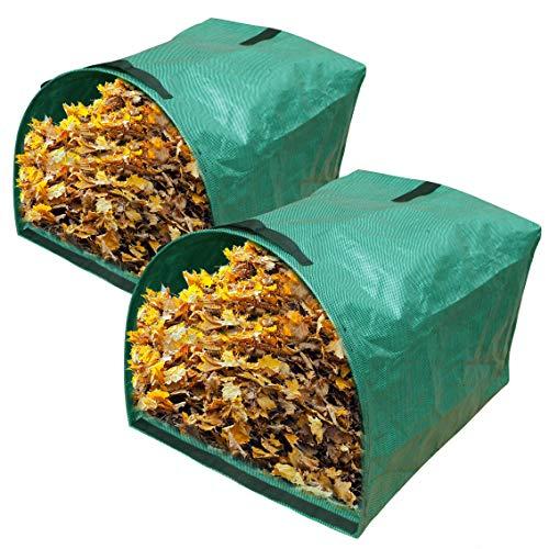 Gardzen 2-Pack Large Yard Dustpan-Type Garden Bag for Collecting Leaves - Reuseable Heavy Duty Gardening Bags, Lawn Pool Garden Leaf Waste Bag - 53 Gallon Per Bag