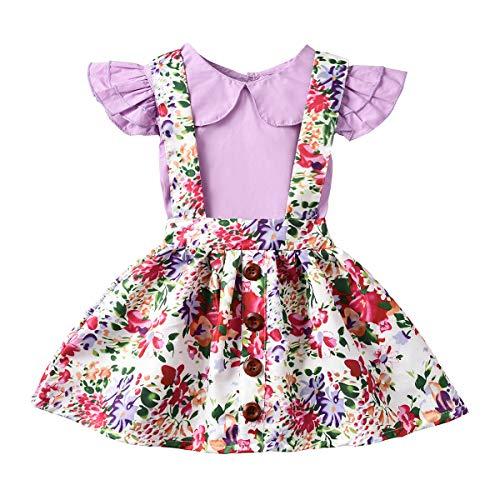 DaMohony Camisa con Volantes de niña bebé + Falda con Tirantes Florales Trajes Ropa niñas Verano