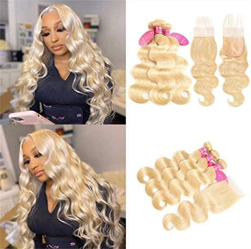 613 Blonde Bundles with Closure Brazilian Body Wave 3 Bundles with Closure Blonde Human Hair product image
