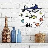 Silencioso Wall Clock Decoración de hogar de Reloj de Redondo,Acuario, diferentes especies de peces en pose Pez payaso Swodfish Hawaiian Pacific Waters F,para Hogar, Sala de Estar, el Aula
