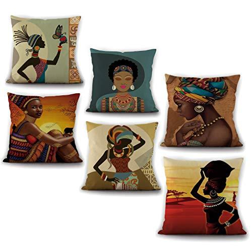 Pevfeciy Set of 6 Cotton/Linen Pillow Case, Novelty Classic Oil Painting Antique Artistic Style Throw Pillowcases,6 pcs