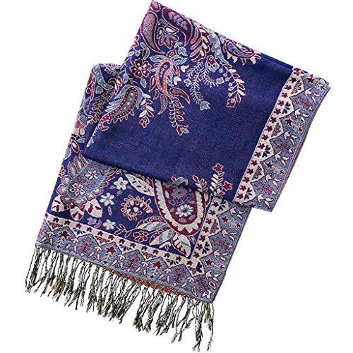 OMING Bufandas Gran impresión Floral de la Bufanda de Las Mujeres Grandes de la Manera mantón Suave otoño y el Invierno Bufandas con borlas Bufandas de Moda para Mujer (Color : B)