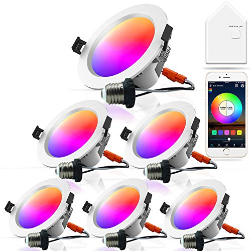 Smart Retrofit Recessed LED Lighting, MagicLight 6 Inch 15 Watts RGBCW Dimmable WiFi & Bluetooth Color Changing Smart Recessed Lighting, Compatible with Alexa and Google Home, 6 Pack