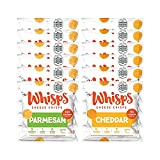 Whisps Parmesan & Cheddar All Natural Cheese Crisps - 2 Flavor Variety Pack - Great Tasting Healthy Snack - Keto Friendly - High Protein - Low Carb - Gluten & Sugar Free - 12 Pack (0.63oz Bags)