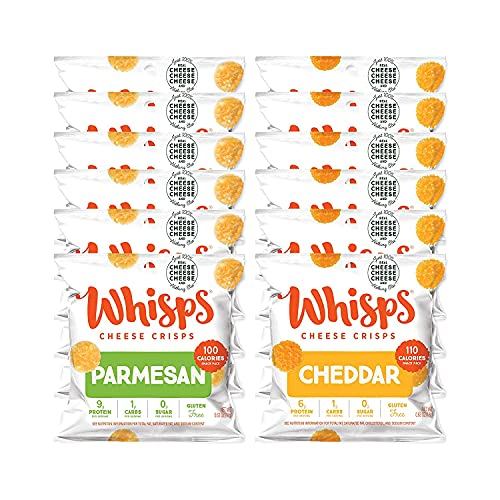 Whisps Parmesan & Cheddar All Natural Cheese Crisps - 2 Flavor Variety Pack - Great Tasting Healthy Snack - Keto Friendly - High Protein - Low Carb - Gluten & Sugar Free - 12 Count (0.63oz)