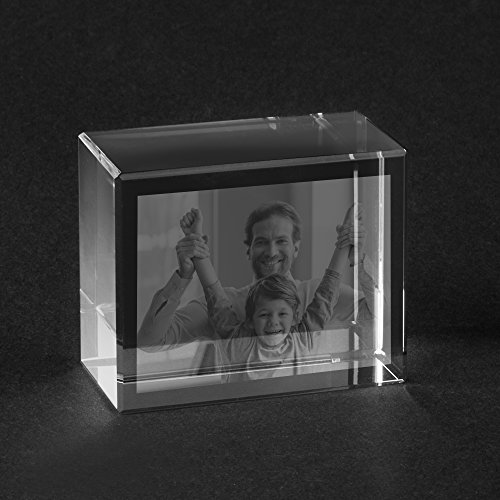Personello® Glasfoto mit Gravur (Glasblock), Foto in Glas graviert, Fotogeschenke, Glas Kristall Größe S=55x45x30mm