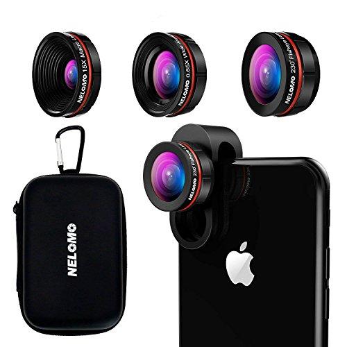 Kit de lentes para smartphone HD - Kit de lentes para iPhone X / 8 / 7plus / 7, Samsung S8 + / S8 / y otros (lente de ojo de pez de 230 °,lente de 0.65 x Super Gran Angular,15 x lente Super Macro)