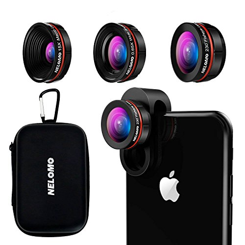NELOMO Universal Professional HD Camera Lens Kit for iPhone XR XS X/8/7Plus/7/6sPlus/6s, Samsung S8+/S8 and Other Cellphones (230¡ã Fisheye Lens, 0.65X Super Wide Angle Lens, 15X Super Macro Lens)