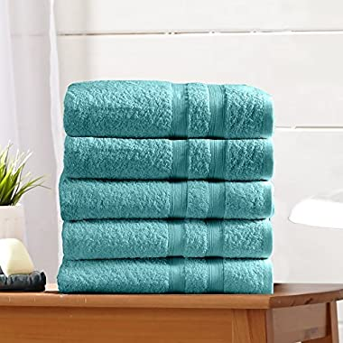 Great Bay Home 5-Pack Premium 100% Cotton Bath Towel Set (28 x 52 inch) Multipack For Home Spa Pool Gym Use. Quick-Drying and Extra Absorbent. Emelia Collection. (Dusty Turquoise)