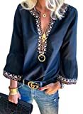 FARYSAYS Women's Autumn Sexy V Neck Long Sleeve Shirts Boho Floral Casual Tops Blouse Blue Large