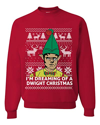 I'm Dreaming of a Dwight Christmas The Office Schrute Funny Ugly Christmas Sweater Unisex Crewneck Graphic Sweatshirt, Red, Medium
