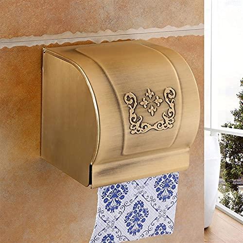 Barm Portarrollos de Papel de baño Caja de pañuelos sin Perforaciones Espacio de baño Portarrollos de Papel Dorado de Aluminio Portarrollos de Papel higiénico Retro Europeo Impermeable Portarroll
