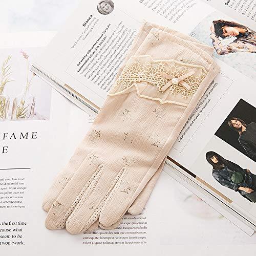 Neue Sommer Ice Silk Touchscreen Sonnenschutz Handschuhe Damen Dünnschliff Fahren Outdoor Skid Koreanische Version Spitze Dünne Kurze Handschuhe Baumwolle Atmungsaktive Ice Silk Handschuhe Frühling Un