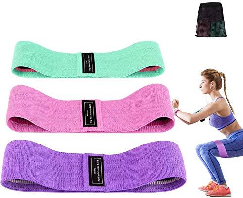 Bandas Elásticas Glúteos, Bandas Elasticas Musculacion 3 Niveles (Set de 3) de Fitness Bandas Antideslizantes de Ejercicios para Yoga Pilates Fuerza de Cadera Piernas Tela y Glúteos