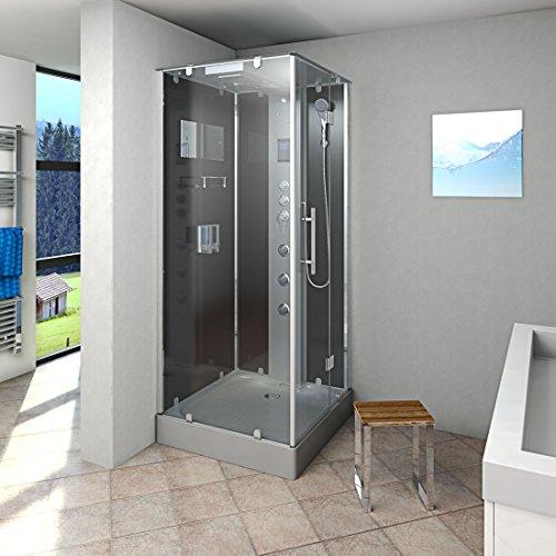 AcquaVapore DTP6038-3303R Dusche Dampfdusche Duschtempel Duschkabine -Th. 90x90, EasyClean Versiegelung:OHNE 2K Scheiben Versiegelung