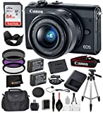 Canon EOS M100 Mirrorless Digital Camera with 15-45mm Lens (Black) and 15PC Accessory Bundle – Includes SanDisk Ultra 64GB SDXC Memory Card + 2X Extended Life Replacement Battery (LP-E12) + More