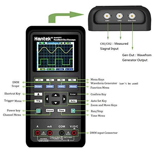 osciloscopio digital, instrumento de prueba universal 2 en 1, osciloscopio + multímetro, batería de litio de gran capacidad (40 MHz + 2CH + DMM)