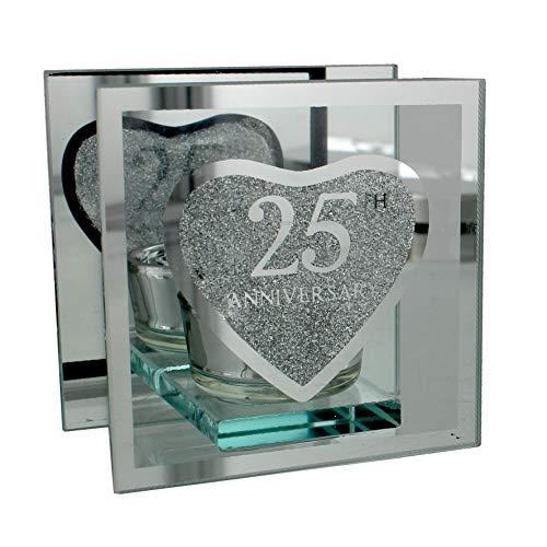 Portavelas de té plateado diseño aniversario de boda 25 años