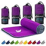Toalla microfibra – en todos los tamaños / 16 colores – compacta y de secado rápido – toalla microfibra grande – toalla fitness gimnasio y toalla microfibra playa (40x80cm violeta - borde gris)