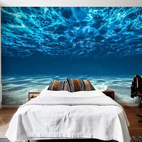 LucaSng Autoadhesivo 3D infantil mural pared - Azul mar mar profundo paisaje - Fotomural para Pared Fondo Fotomural para Paredes Decoración comedores, Salones, Habitaciones