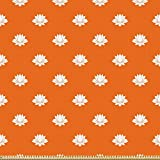 ABAKUHAUS Orange und Weiß Microfaser Stoff als Meterware,