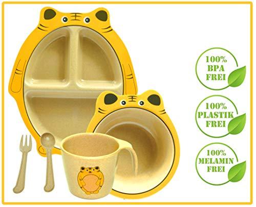 Green World Production Kindergeschirr Set 6-teilig aus Reishülse ohne Melamin besteht aus Teller Schale Löffel Gabel Tasse und Saugnapf Spühlmaschienengeeignet Mikrowellengeeignet (Tigerchen)