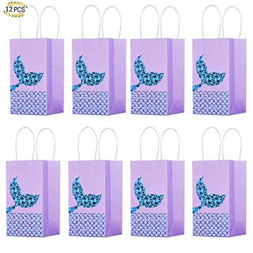 12 Stück Tüte Tragetasche Einhorn-Thema Papiertüte Einkaufstasche Geschenktüte Pommes Frites Box Geburtstag Party Supplies Purple