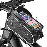 Guijiyi Borsa Telaio Bici, Impermeabile Borsa Manubrio Bicicletta con Touch Screen e Visiera Solare, 6 inch Porta Cellulare Bici, Grande capacità, Porta Bici da Corsa