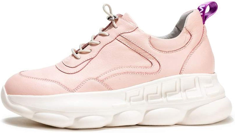 Woherrar skor Low Top Casual skor Springaa ny läder läder läder Ladies Platform skor Lace Up skor Round Flat skor, B,34  billigaste priset
