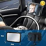 Soontrans Miroir Voiture pour Bébé de Siège Arrière Taille Grande Enfant Miroir de Voiture Incassable pour Vue Arrière Miroir Rétroviseur de Bébé pour Surveillancec 360 ° Réglable