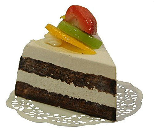 Handgemachte & Naturgetreue Imitation/Lebensmittelattrappe - Stück Obstkuchen - Länge: 11cm / Höhe: 8cm